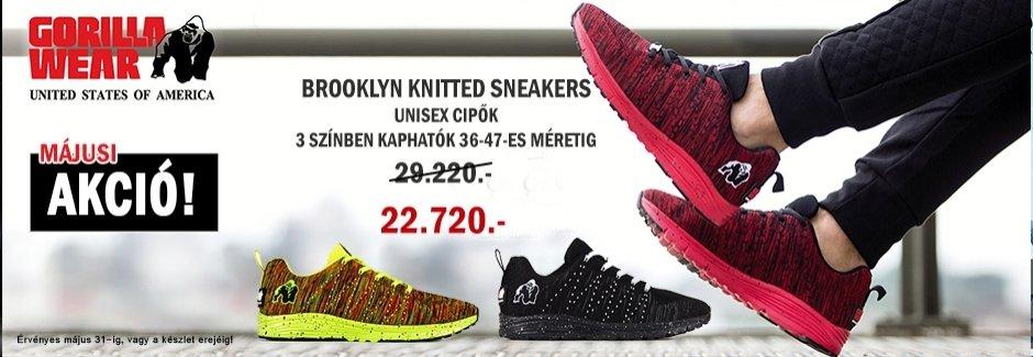 Gorilla Wear májusi akció! Brooklyn Knitted Sneakers unisex cipők akciója!